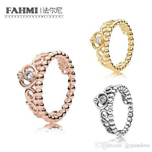 HYWo 100% 925 Sterling Silver SHINE MY PRINCESS TIARA RING Rose Gold Exquisite Lucky Charming Charm Free Shipping