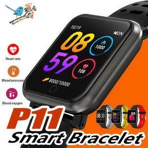 P11 apple watch android telefon için smart watch erkekler kadınlar su geçirmez nabız kan basıncı spor smartwatch