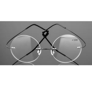 ماركة Pd63 بدون شفة نظارات القراءة الرجال سبائك التيتانيوم أضعاف النساء نظارات دائرية طويل النظر فرملس النظارات +1.0 إلى 3.5 C19042001