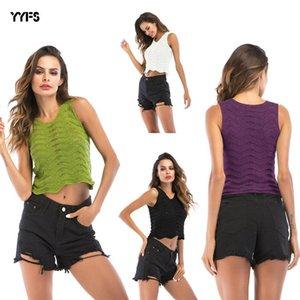 womens designer vest sling outside wearing female crochet hollow wavy sleeveless vest short jacket