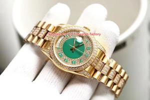 5 Estilo Venta caliente Mejor calidad 36mm 118388 Día-Fecha Pulsera con bisel de diamantes completos Oro 18k CAL.2813 2836 Movimiento Relojes automáticos para hombre