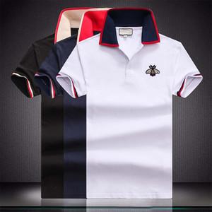 роскошь дизайнер моды классический мужской пчелиный полосатая вышивка рубашка хлопок мужской дизайнер рубашки белый черный дизайнер рубашки поло маль