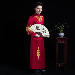 Vêtements de mariage chinois traditionnel rouge Vintage Groom Cheongsam mâle hanfu broderie Oriental col montant vêtements ethniques costume costume