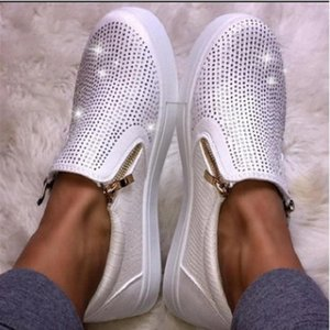 Toe Ladies Shoes Women Rhinestone Bling Slip-on Diamonds Flats Crystal Casual Woman Shoes OllyMurs Round Platform Fnpdi