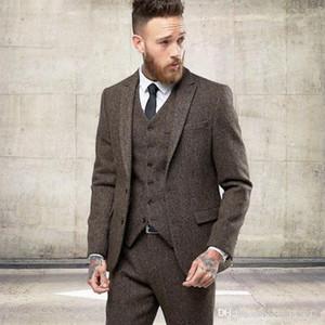 2020 Yeni İki Düğmeler Tweed Yün Kış Erkekler Suits Örgün Düğün Smokin Nazik Modern Blazer 3 Adet Erkekler Suits (Ceket + Pantolon + Yelek)