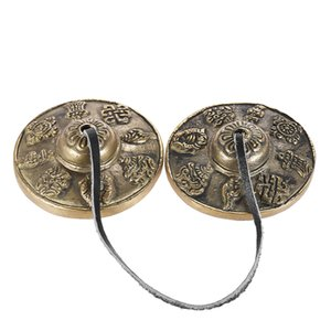 2.6in 6.5cm Handcrafted Tibetan Meditation Tingsha Cymbal Bell Buddhist Lucky Symbols  The Eight Auspicious Symbols Optional