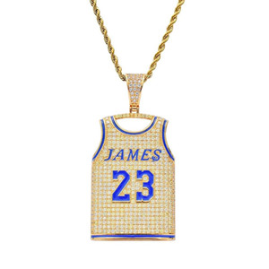 hip hop James 23 sport shirt pendant necklaces for men women luxury diamonds number letters pendants 18k gold plated necklace gifts for bf