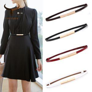 Yüksek kaliteli sığır derisi moda tasarımı ince kot elbise kadınlar için COWATHER kadın kayış inek deri kemer wasitband ücretsiz kargo Y200428