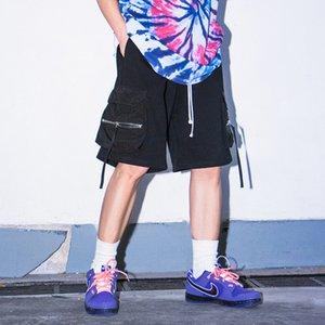 20SS nuevo del verano de la cremallera Bolsillos Negro Pantalones cortos de carga de gran tamaño para hombre de Calle Recta Pantalones cortos con cordón flojo Hip Hop Casual Corto