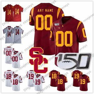 Personnalisés USC Trojans 2020 College Football Hommes Jeunesse Kid 9 JuJu Smith-Schuster Slovis Pittman Simpon Bush Malepeai 150e Seau Jersey Blanc Rouge