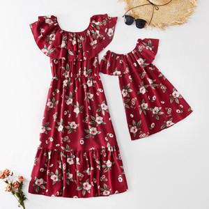 2020 Estate New Mommy and Me floreale Mesh Tank Dress Suor pagliaccetto per la mamma-Girl-Baby Vestiti uguali