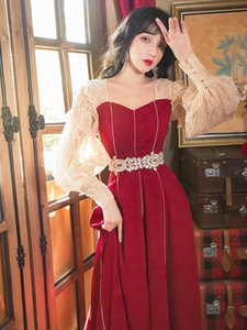 Best Quality Series Prom Dress Vintage Lace Embroidery Waist Maxi Long Party Wedding Dinner Holiday Princess Elegant Women Dresses 6699