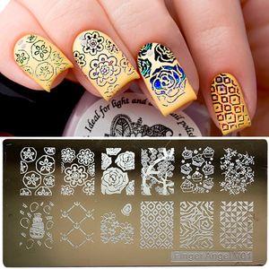 1set / 16pcs en acier inoxydable Nail Art Stamping Plaques Nail Seal Manucure Polaco Printer Tool Modèles Nail Stamp Pochoirs