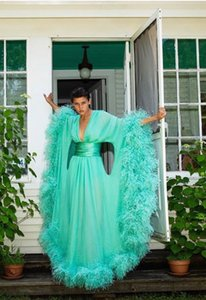 Green Feather Robe 2020 New Ruffles Party Sleepwear Custom Made Nightgown Robes Puffy Skirt Photography Boudoir Pajamas