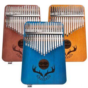 Muspor 17 keys EQ kalimba Mahogany Thumb Kalimba Finger Piano with Electric Pickup Piano Keyboards Tuner Hammer Beginner Music Learning