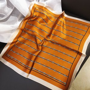 Vintage 100% Silk Scarf Mulheres Faixa Belt Buckle Imprimir Praça Lenços Headband pequeno Foulard Femme laranja Xailes Wraps