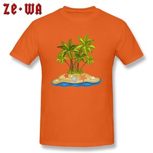 Summer T-shirt Men Holiday Tops Beach Coconut Tree 3D Tees Printed Mens T Shirts 100% Cotton Orange Tshirt High Street Clothes