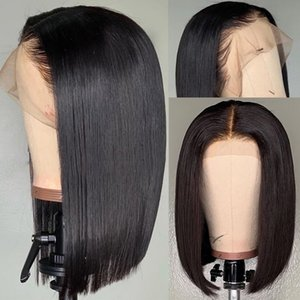 Short Full Lace Wigs Brazilian Human Hair African American Pre Plucked Straight Free Part Virgin Brazilian Human Hair Lace Front Bob Wig