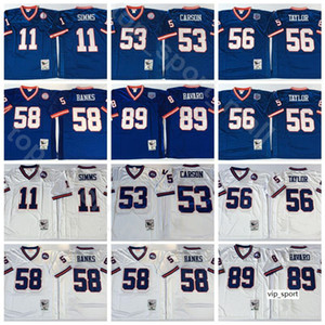 NCAA Football 56 Lawrence Taylor 89 Mark Bavaro Jerseys 11 Phil Simms 53 Harry Carson 58 Carl Banks homem branco azul do vintage