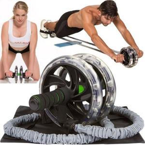 200pcs Doppel Räder Ab Roller Stretch Trainer-Widerstand-Bänder Übung Elastic Pull Seil Taille Bauch abnehmen Ausrüstung