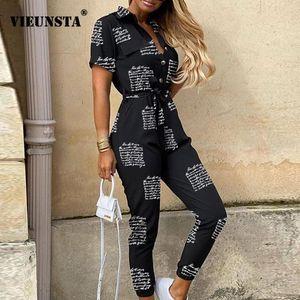 Elegant Letter Print Jumpsuit Women Summer Deep V Neck Button Shirt Overalls Short Sleeve Office Lady One Piece Romper Belt