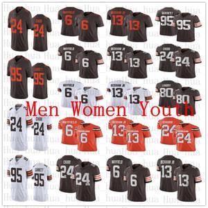 2020 Yeni Erkekler kadınlar Clevelandgençlik 13 Odell Beckham Jr Kahverengi6 Baker Mayfield 95 Myles Garrett Landry 24 Nick Chubb forması