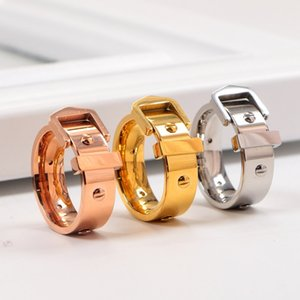 Fashion Index Finger Rings Cubic Belt Buckle Ring Popular Couple Accessories Rings Small Screw Hip Hop Ring for Daily Street