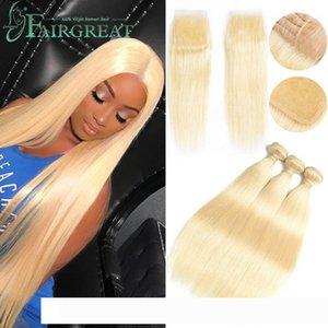 pelucas malaisienne droite Human Hair Extensions 613 Blonde humaine droite Bundles cheveux 3 Bundles avec fermeture 100% Platinum Hu