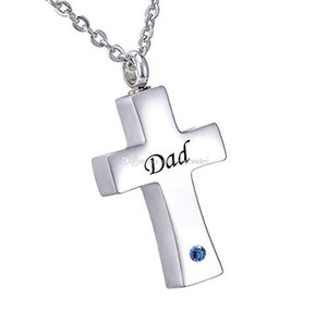 Fashion jewelry Cross Necklace for Ashes Keepsake dad Memorial Urn Pendant Stainless Steel Cremation Jewelry