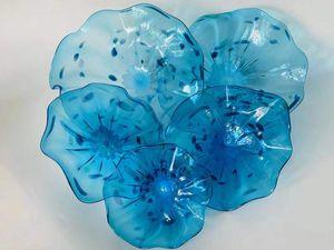 Cina fabbrica-presa a mano soffiato Piastre Art Glass Flower vendita calda Handmade soffiato Piastre Art Glass Flower