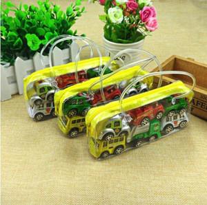 6pcs / set mini tira del coche de juguete de aleación Funde automóviles de juguete modelo de coche para niños hijos de inercia Tire hacia atrás del camión autobús trolebús
