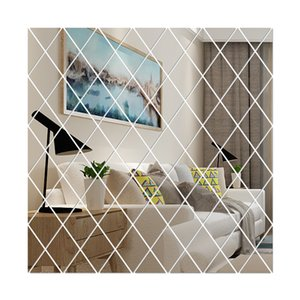 58Pcs DIY 3D Mirror Wall Sticker Diamonds Triangles Acrylic Mirror For Living Room Home Bath Decoration