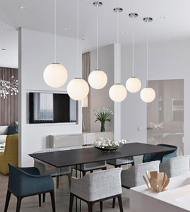 Lampes suspendues d'intérieur modernes boule de verre blanche led lampe de suspension salon salle à manger bar éclairage maison lampes suspendues (dx-50)