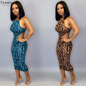 Plus Size ghepardo della stampa del leopardo dei vestiti da partito sexy Vestito longuette Abbigliamento Donna Vestiti Backless Bandage oversize Club