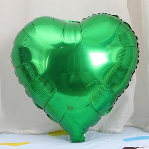 18 polegadas Forma Coração verde Cor Foil Mylar balões para o aniversário decorações do partido decorações de casamento festa de noivado celebração holida