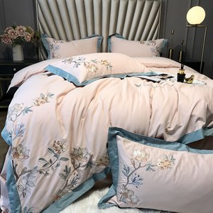free shipping Light luxury autumn and winter thickened warm bedding 60S double-strand long-staple cotton brushed 100% cotton 4pcs bed cover