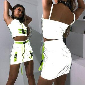 Mulheres sexy 3 M Reflexivo Tracksuits Sem Mangas Colheita Tops Shorts 2 pcs Conjuntos de Roupas Com Decote Em V Skinny Slim Fit Ternos de Verão