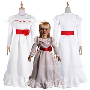 Femmes Enfant Kid Costumes d'Halloween ConjingDoll Annabelle Robe blanche Horreur Effrayant Femme Porter Cosplay Déguisements trajes de MASCOTE