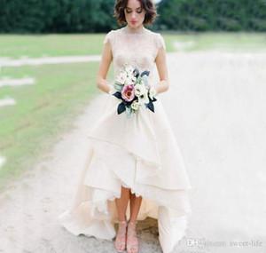 2021 Simple Beach Wedding Dresses Boho A Line Hi Lo Lace Backless Vintage Bridal Gowns Court Train