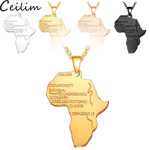 Paslanmaz Çelik Afrika Harita Kolye Altın Renk Kolye Zincir Afrika Harita Erkekler Kadınlar için Hiphop Kolye Hediyeler 4 Renkler Etiyopya takı
