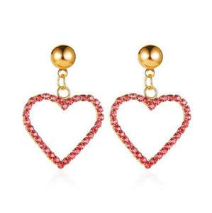 Coração Sweet Love Charme Eardrop Brinco Moda Rhinestone completa banhado a ouro coração oscila brincos da orelha Stud Para Mulheres partido meninas jóias