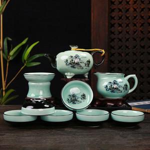Tea set Celadon green blue Tea set Celadon green blue Porcelain porcelain flower rare and precious