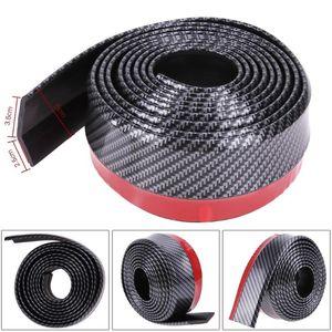 Black Soft Carbon Fiber Car Rubber Bumper Strip Outside Bumper Exterior Front Bumper Lip Kit Car Strip Hot Sale 2.5M*6CM