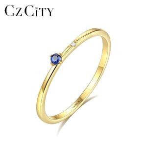 CZCITY كيفت 14K الذهب الأصفر الأزرق الإسبنيل خاتم خواتم للمرأة الحد الأدنى Bridals الأحجار الكريمة خواتم مجوهرات هدايا Au585 CJ191205
