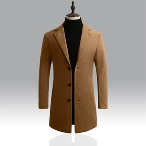 2019 New Mens Fashion Boutique Wool Pure Color Business Casual Woolen Dust Coats   Male Quality Slim Leisure Trench Coats