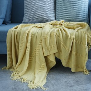 Cilected Nordic Literary Pinstripe Knitted Blanket Home Air-Conditioned Solid Color Blanket Shawl Bed End Towel Decor