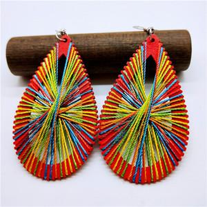 Influx boucles d'oreilles personnalité féminine simple enveloppe en bois rétro ligne ligne goutte en bois boucles d'oreilles géométrie boucles d'oreilles national vent