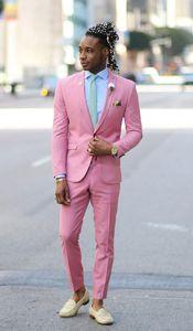 Новые Популярные One Button Pink Groom Tuxedos Пик нагрудного Groomsmen Мужские костюмы Свадебная / Prom / ужин Blazer (куртка + брюки + галстук)