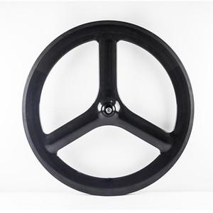 T700C la bici del camino de la rueda delantera de 65 mm de profundidad Tri radios 700C rueda 3 habló del carbón del remachador de la rueda delantera Sólo