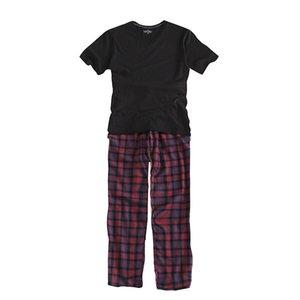 100% coton nouveau 2018 été ensembles de pyjama à carreaux Pijama manches courtes hommes pyjamas col en V vêtements de nuit hommes pyjamas, plus la taille S-xxl SH190705